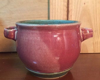 Handmade Pottery Potpourri Jar in Red and Green