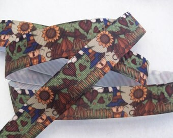"""Autumn 7/8"""" Grosgrain Ribbon with Scarecrows and Sunflowers"""