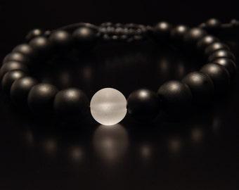 Bracelet,matte onyx with crystal glass, 8mm, Beaded bracelet, Mens Bracelet, Womens Bracelet, Bracelets for men, Bracelets for women,