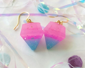Hawaiian Sunset Pink and Blue Glitter Resin Diamond Earrings with 14k Gold Plated Hooks
