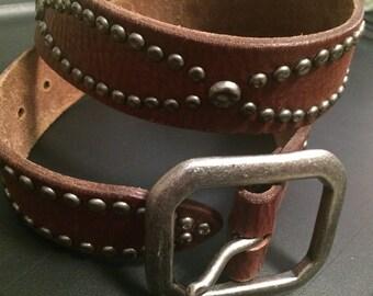 "Vintage lucky brand silver studded leather belt 32"""