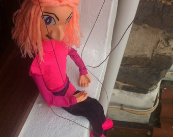 Puppet's wire hair orange pink clothes