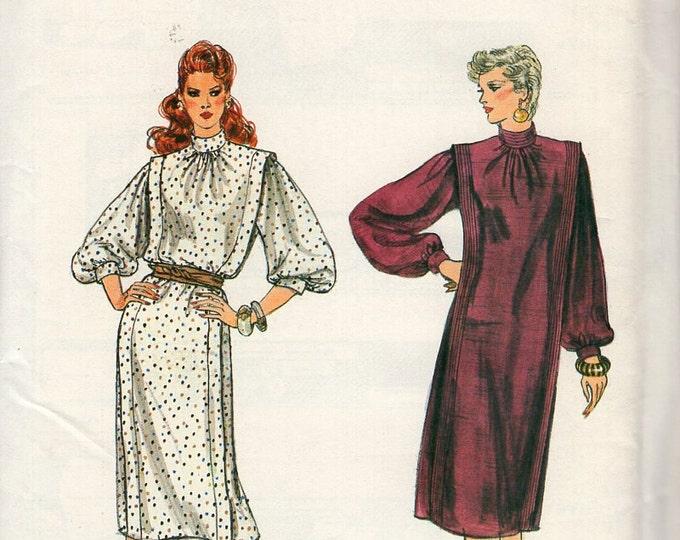 Free Us Ship Sewing Pattern Vogue 8394 Vintage Retro 1980s 80s Flange Wide Shoulder Dress Loose Fitting Size 6 8 10 Bust 30.5 31.5 32.5 New