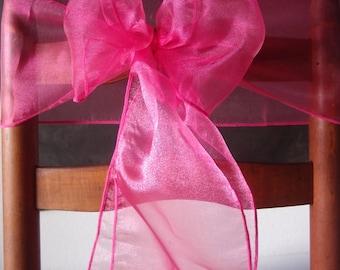 Hot Pink / Fuchsia Organza Chair Sashes (9ft, 10 pack) CHRSOG-RP