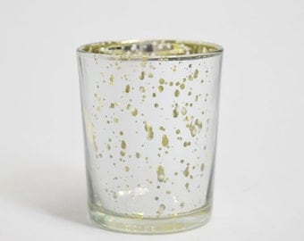 Mercury Glass Votive Tea Light Candle Holder - Silver w/ Gold Interior (2.5 Inches) (6 PACK) - TLMC-SVGD