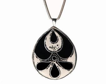 SALE! Modern Floral Black-Cream Matyó Enamel Pendant in Silver, One of a Kind Handmade, Artisan Silver Jewellery, Organic Texture