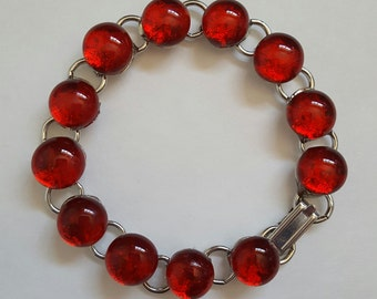 Glowing Red Dichroic Glass Bracelet