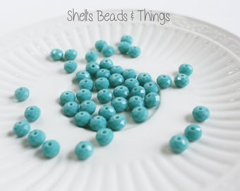 8mm Rondelle, Czech Glass Beads, Turquoise Beads, Faceted Beads, Blue Beads, Jewelry Making Supply - 1 Strand = 50 Beads