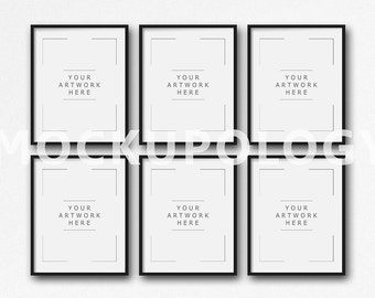 8x10 16x20 24x30 set of six vertical digital black frame mockup on white plain wall background styled photography mockup instant download