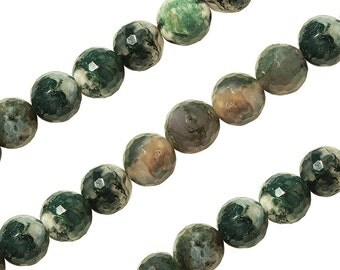 15 IN Strand 10 mm Moss Agate Round Faceted Gemstone Beads (MSARNF0010)