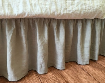 stone grey bed skirt handmade in natural linen grey gathered bed skirt grey bed - Dust Ruffles