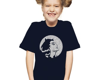 Girls Retro Catwoman T-Shirt / Childrens Glitter TShirt in Navy or Black with Silver Glitter Ages 3-4, 5-6, 7-8, 9-11, 12-13