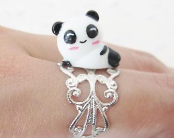 Panda ring in silvery metal, manga jewelry, magical jewelry, ring child, gift for her, kawai ring, panda, gift