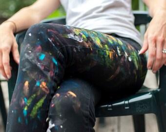 Black Skinny Jeans Paint Splattered