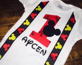 Mickey Mouse 1st Birthday Onesie with Bow Tie