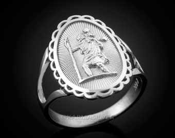 Sterling Silver Saint Christopher Ladies Oval Ring