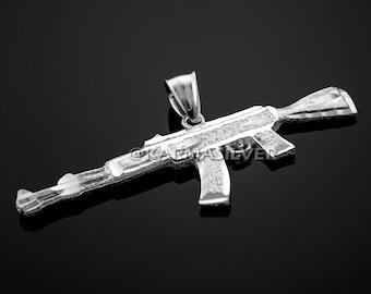 Sterling Silver AK-47 Rifle Gun Pendant - AK47 Silver Pendant