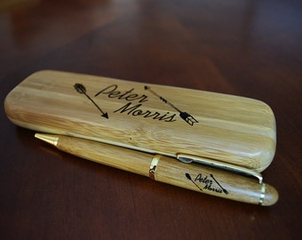 Personalized Custom Engraved Maple, Rosewood or bamboo Pen with Case and Optional Engraving Color Enhancements