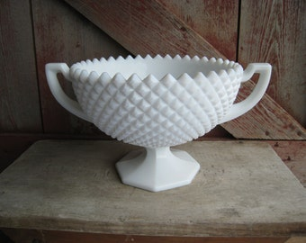 Westmoreland English Hobnail White Milk Glass Diamond Cut Loving Cup Two Handled Trophy Centerpiece Fruit Bowl