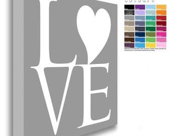 Heart Detail LOVE Canvas Chunky Framed White Text (32 Background Colours Available)