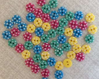 Mini Buttons Polka Dot Bright