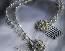 Bridal hair chain /comb with diamante, glass bicones and faux pearls in White