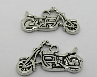 15 Motorbike Charms Motor Cycle Bikers Charms 24mm Antique Silver Tone J03298