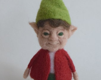 Posable Little Needle Felted Elf with the Red Cardigan