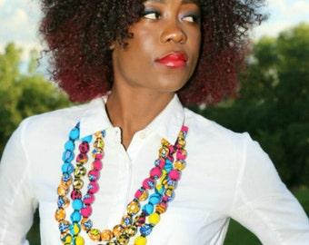 Ankara multi layer necklace