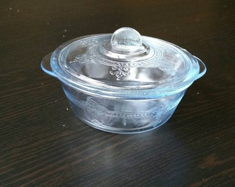 Blue Philbe Fire King Mini Casserole Dessert Dish with Lid