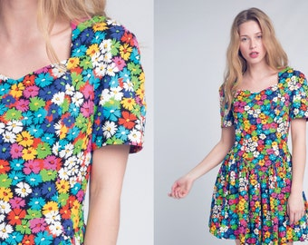 leslie luck floral dress / bright floral cotton dress with sweetheart collar and exposed back / vtg 80s / s