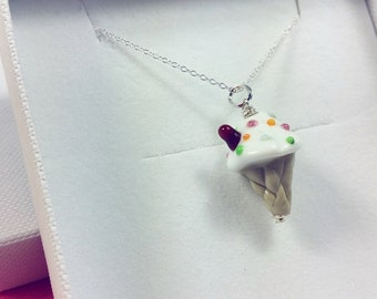 Icecream Pendant  - Lampwork Glass Icecream - Sterling Silver Necklace - Artisan Handmade - Gifts for Her - Icecream Necklace - Made In UK