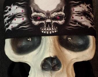 Skull with flames tie-back bandana