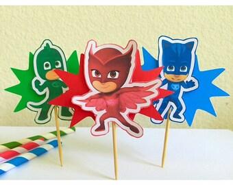 PJ Masks Cupcake Toppers-PJ Masks Birthday Party-PJ Masks Colorful Birthday- Pj Masks dessert table- Pj Masks food picks-