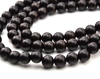 108PC  Natural Black Ebony wood Prayer Mala  round beads 8MM