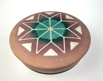 Sioux Pottery Signed High Elk Lidded Bowl Etched Native American Cheyenne River