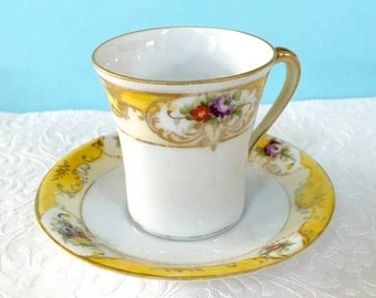 Demitasse, Small Coffee Cup, Turkish Coffee, Vintage China Cup and Saucer, Yellow Espresso cup