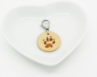 leather necklace cat or dog paw Locket