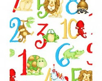 ABC 123 by Henry Glass - Letters and Numbers on White Background by the Half Yard