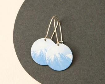 Mountain Earrings - Blue earrings - Mountain disc earrings - mountain dangle earrings