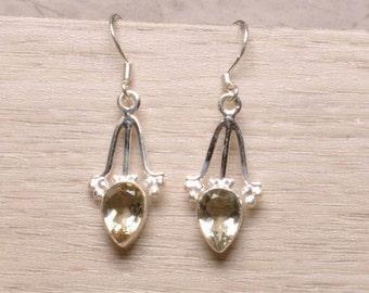 Natural PRASIOLITE (Green AMETHYST) Teardrop Gemstone, 925 Sterling Silver Elegant Jewellery Dangle Earrings!