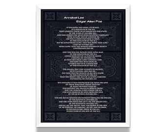 Poetry Print, Edgar Allan Poe, Annabel Lee Poem, Poetry Print, Literature Poster