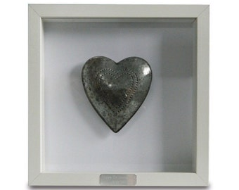 Framed Personalised Tin Heart - 10th Wedding Anniversary Gift