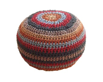 hand knitted round cotton ottoman/poof. PRE-STUFFED floor cushion seating