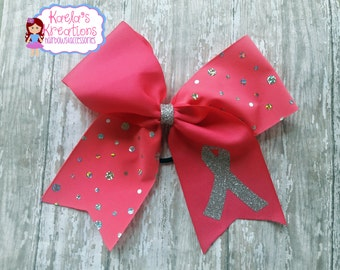 Pink and Silver Cheer Bow,Pink Cheer Bows,Breast Cancer Awareness Cheer Bows,Silver and Pink Cheer Bows,Breast Cancer Awareness Cheer Bows.