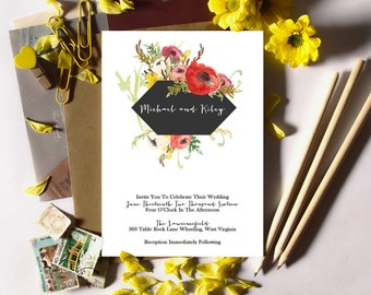 Floral Wedding Invitation Suite Deposit