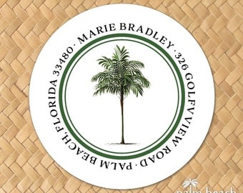 """Vintage Palm Return Address Labels - 1.5 Inch, 2"""", 2.5"""" or 3"""" Round Stickers - Personalized Palm Tree Circle Envelope Seals - Beach Theme"""