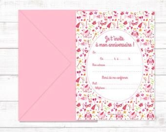 """Postcard """"""""Je t'invite à mon anniversaire, birds"""""""