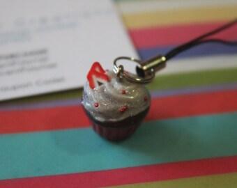 Chocolate Cupcake Charm w/Strawberrys