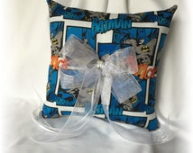 Batman Wedding Ring Pillow, Superhero Wedding Pillow, Navy Batman Ring Pillow, Fantasy Wedding